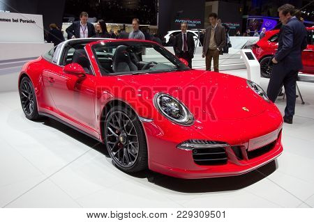 Geneva, Switzerland - March 3, 2015: Porsche 911 Targa 4 Gts Shown At The 85th International Geneva
