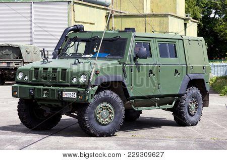 Beauvechain, Belgium - May 20, 2015: Belgian Army Iveco Lmv (light Multirole Vehicle) On Guard.