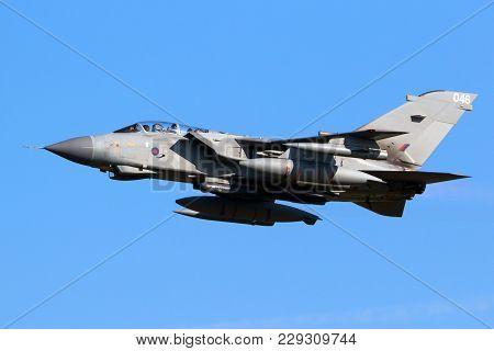 Leeuwarden, The Netherlands - Mar 28, 2017: British Royal Air Force Tornado Gr-4 Bomber Jet Plane In