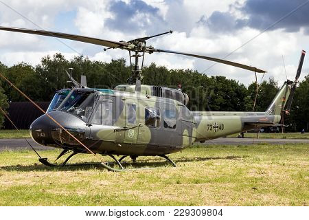 Beauvechain, Belgium - May 20, 2015: German Army Bell Uh-1 Huey Helicopter Sitting Idle On Beavechai