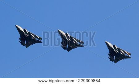 Leeuwarden, The Netherlands - Mar 28, 2017: Flight Of British Royal Air Force Tornado Gr-4 Bomber Je