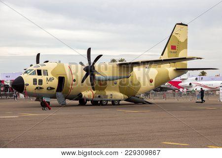 Marrakech, Morocco - Apr 28, 2016: Royal Moroccan Air Force Alenia C-27j Spartan Transport Plane At