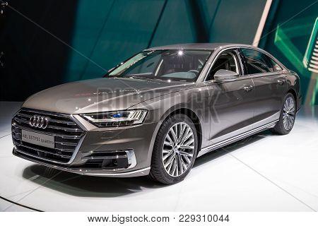 Frankfurt, Germany - Sep 13, 2017: New 2018 Audi A8 L Quattro Luxury Car At The Frankfurt Iaa Motor