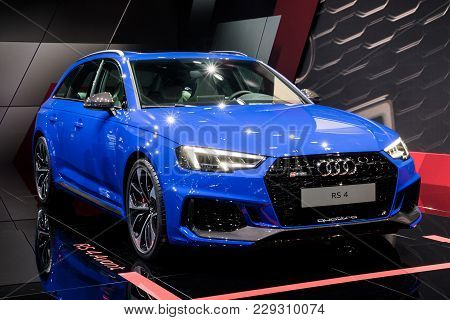 Frankfurt, Germany - Sep 13, 2017: New Audi Rs4 Avant Quattro High Performing Car At The Frankfurt I