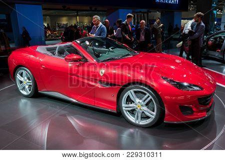 Frankfurt, Germany - Sep 13, 2017: New Ferrari Portofino Sports Car At The Frankfurt Iaa Motor Show.