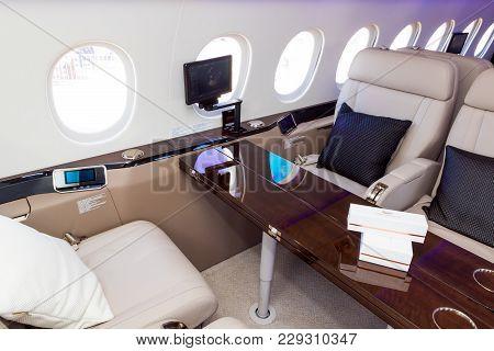 Paris, France - Jun 23, 2017: Modern Interior Of The Dassault Falcon 900lx Business Jet At The Paris