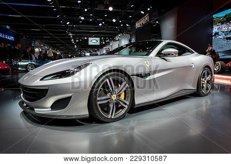 Frankfurt, Germany - Sep 13, 2017: New 2018 Ferrari Portofino Sports Car World Premiere At The Frank