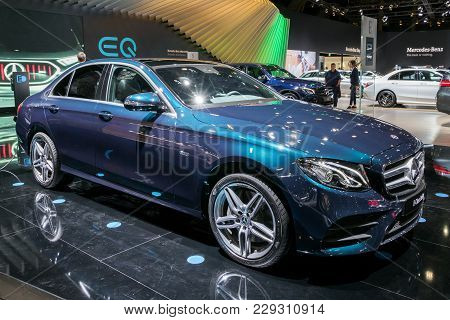 Brussels - Jan 10, 2018: Mercedes-benz E-class Berline Car Showcased At The Brussels Motor Show.