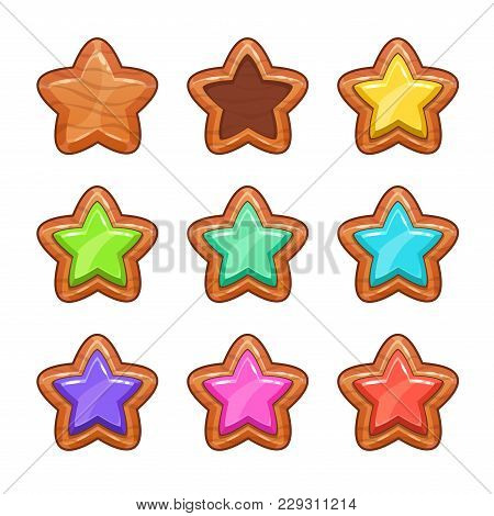 Cartoon Wooden Stars Set. Vector Icons, Isolated Game Assets On White Background.