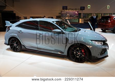 Brussels - Jan 10, 2018: Honda Civic Type R High Performance Car Showcased At The Brussels Motor Sho
