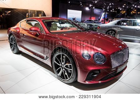 Brussels - Jan 10, 2018: New 2018 Bentley Continental Gt Car Showcased At The Brussels Motor Show.