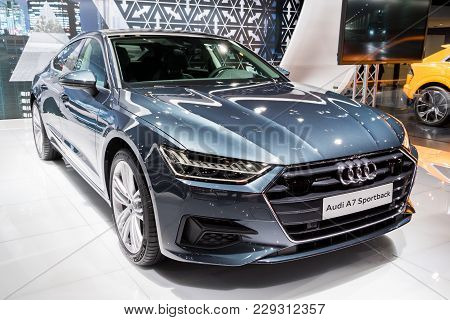 Brussels - Jan 10, 2018: New 2018 Audi A7 Sportback Car Presented At The Brussels Motor Show.
