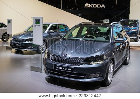 Brussels - Jan 10, 2018: Skoda Fabia Small Family Car Showcased At The Brussels Motor Show.