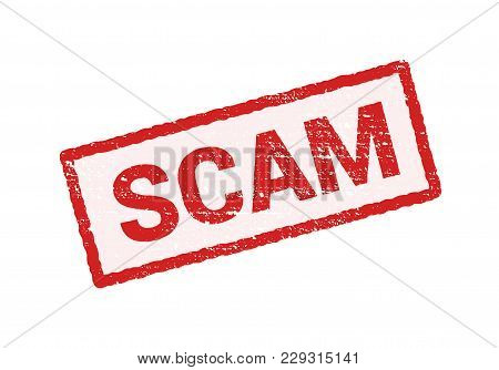 Scam Grunge Red Stamp. Scam Square Sign Label Isolated.