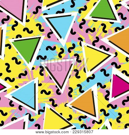 Colorful Seamless Pattern From Triangles On The Bright Brush Strokes Background. 80's - 90's Years D