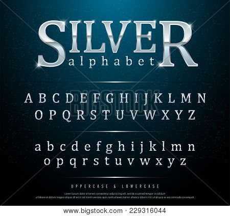 80s Retro Elegant Silver Colored Metal Chrome Alphabet Font. Typography Classic Style Silver Font Se