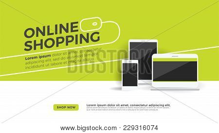 Online Shopping Discount Concept Desktop With Laptop, Tablet And Mobile Phone. Shop Now Button On Gr