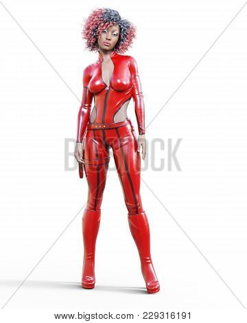 3d Beautiful Tall Woman In Leather Red Bodysuit. Latex Tight Fitting Suit. Gun In Holster. Girl Stud