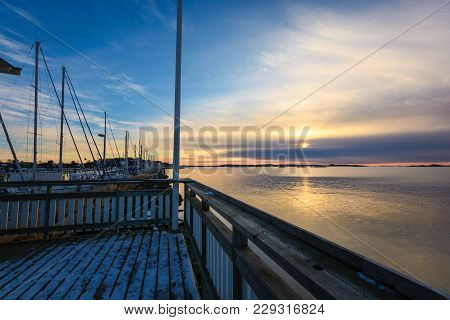 Sunset As Seen From A Boat Or Ware House In Saltholmen,gothenburg,sweden 2018