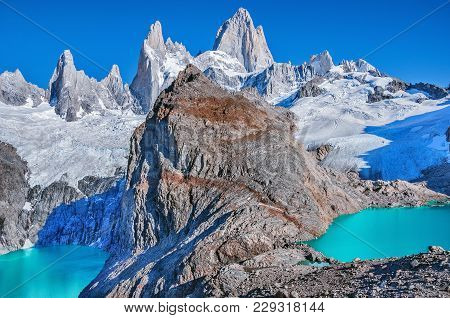 Los Tres And Sucia Lakes By Fitz Roy Mountain. Los Glaciares National Park. Argentina.