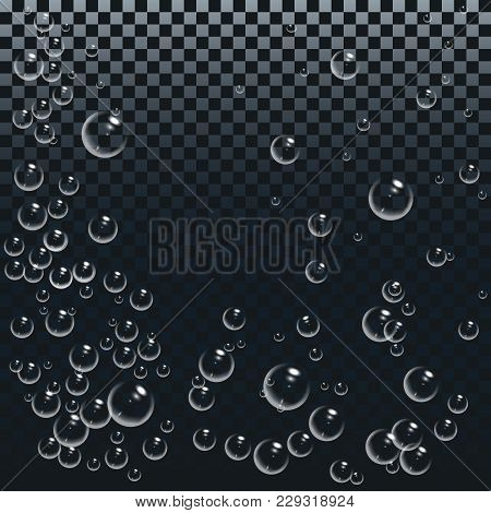 Air Or Oxygen Gas Bubbles Under Water. White Bubbles Set On Transparent Background. Realistic Fizzy