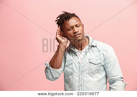 The Happy Business Afro Man Standing And Young Man Listening Isolated On Trendy Pink Studio Backgrou