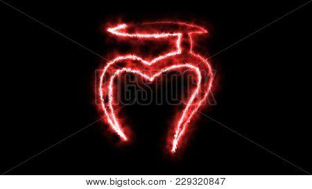 Burning Stylish Chakras Symbol In Space, 3d Rendering Backdrop