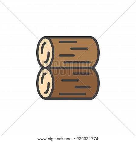 Stack Of Logs Filled Outline Icon, Line Vector Sign, Linear Colorful Pictogram Isolated On White. Lo