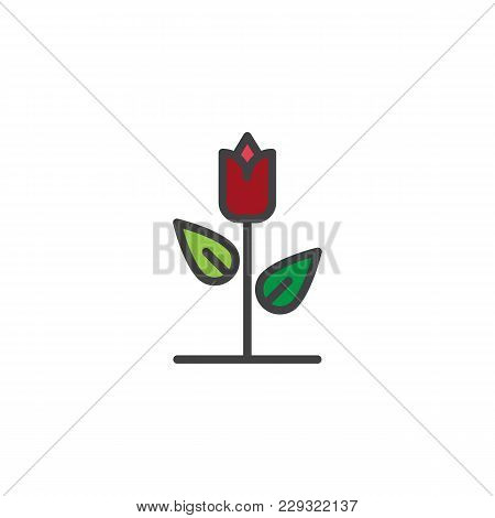 Rose Flower Filled Outline Icon, Line Vector Sign, Linear Colorful Pictogram Isolated On White. Flor