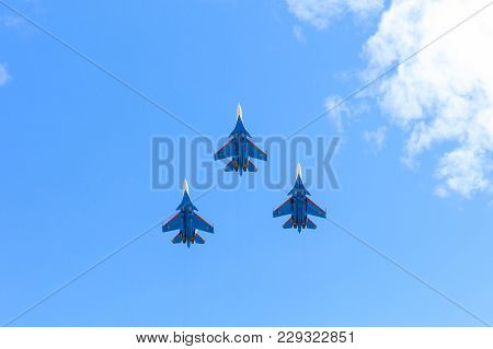 Moscow, Russia - May 9, 2017: Military Parade Of 72th Anniversaries Of A Victory Day In Wwii. A Grou