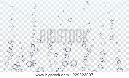 Underwater Bubbles Transparent Vector. Water Pure Water Droplets Condensed. Effervescent Medicine. I