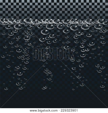 Air Or Oxygen Gas Bubbles Under Water. Boiling Water.white Bubbles Set On Transparent Background. Re