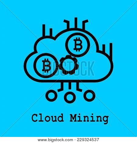 Block Chain Flat Icon. Cloud Mining Symbol. Vector Illustration. Block Chain Technology Concept.