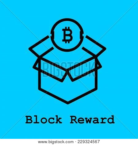 Block Chain Flat Icon. Block Reward Symbol. Vector Illustration. Block Chain Technology Concept.