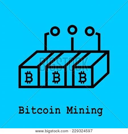 Block Chain Flat Icon. Bitcoin Mining Symbol. Vector Illustration. Block Chain Technology Concept.
