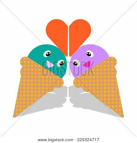 Ice Cream Love Cartoon Cute. I Love Ice Cream Heart Vector Illustration. Good Drawing Of Ice Cream.