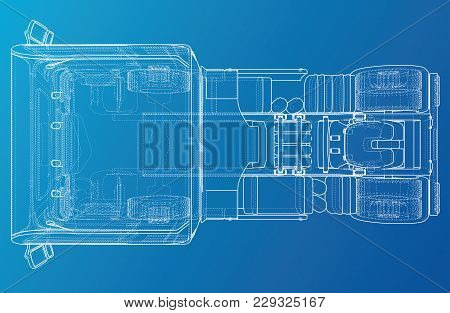 Top View Cargo Truck Isolated On White Background. Eurotrucks Delivering Vehicle Layout For Corporat