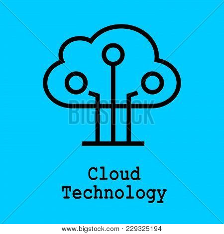 Block Chain Flat Icon. Cloud Technology Symbol. Vector Illustration. Block Chain Technology Concept.