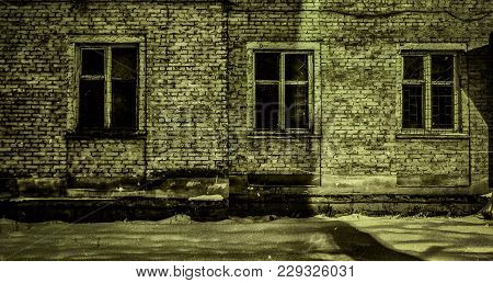 Very Old Apartment Building. Old Architeture. Old Town. Vintage Photo. Stylization. Green Grunge. Bu