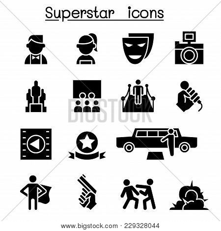 Actor, Actress, Celebrity, Super Star Icon Set