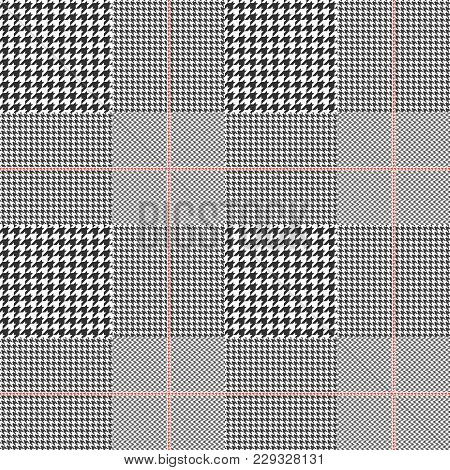 Seamless Glen Plaid Pattern In Black And White With Red Overcheck. Classic Prince Of Wales Check Tex