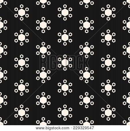 Vector Hexagons Geometric Texture. Honeycomb Seamless Pattern. Abstract Monochrome Hexagon Backgroun