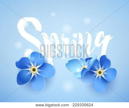 Cute Spring Card With Forget-me-not And Lens Flares On Blue Background. Vector Illustration.