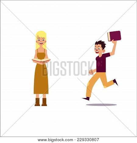 Vector Flat Adult People Reading Set. Beautiful Amazed Woman In Dress Reading Book, Man Running Hold