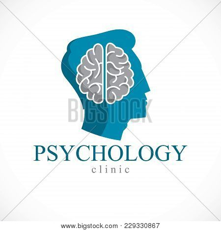 Psychology Concept Vector Logo Or Icon Created With Human Anatomical Brain Inside Of Man Face Profil