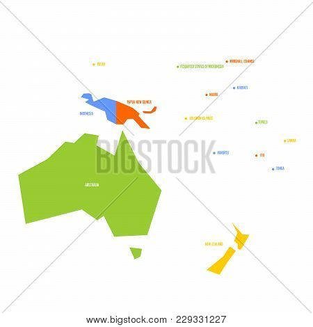 Very Simplified Infographical Political Map Of Australia And Oceania. Simple Geometric Vector Illust