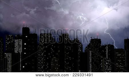 Beautiful View Of Lightning Bolts Strike The Top Of The Tallest Buildings, City, Stock Footage