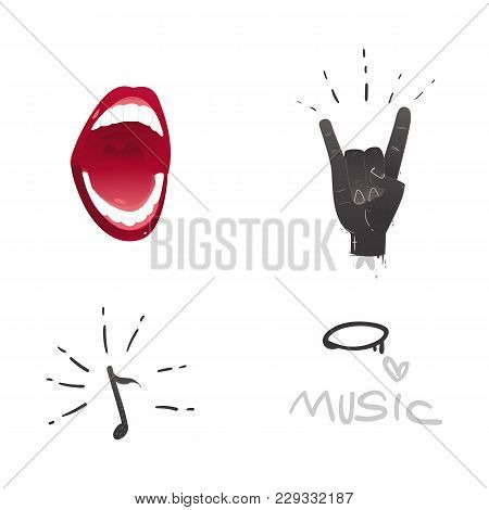 Vector Flat Music Symbols Set. Hand Showing Rock And Roll Sign Gesture By Fingers, Singing Mouth, No