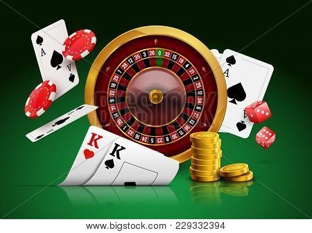 Casino Roulette With Chips, Red Dice Realistic Gambling Poster Banner. Casino Vegas Fortune Roulette