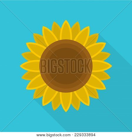 Ripe Sunflower Icon. Flat Illustration Of Ripe Sunflower Vector Icon For Web